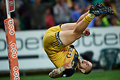 June 3rd 2017, NIB Stadium, Perth, Australia; Super Rugby; Force v Hurricanes;  TJ Perenara of the Hurricanes does a flip while scoring a try