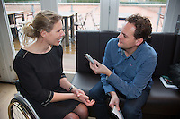 09-01-14, Netherlands, Rotterdam, TC Kralingen, ABNAMROWTT Press-conference, Esther vergeer being interviewd<br /> Photo: Henk Koster