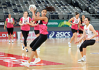 15.09.2012 Silver Ferns Maria Tutaia in action at training at the Hisense Arena In Melbourne ahead of the first netball test match between the Silver Ferns and Australia. Mandatory Photo Credit ©Michael Bradley.