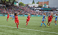 Portland, OR - Saturday September 30, 2017: Nadia Nadim scores a goal during a regular season National Women's Soccer League (NWSL) match between the Portland Thorns FC and the Chicago Red Stars at Providence Park.
