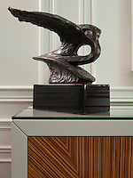 The sculpture on the sideboard in the living room is of the renowned Mulsanne bonnet mascot, the Flying B