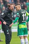 10.02.2019, Weser Stadion, Bremen, GER, 1.FBL, Werder Bremen vs FC Augsburg, <br /> <br /> DFL REGULATIONS PROHIBIT ANY USE OF PHOTOGRAPHS AS IMAGE SEQUENCES AND/OR QUASI-VIDEO.<br /> <br />  im Bild<br /> <br /> Florian Kohfeldt (Trainer SV Werder Bremen)<br /> Milot Rashica (Werder Bremen #11)<br /> Verletzung / verletzt / Schmerzen<br /> Auswechslung<br /> <br /> Foto &copy; nordphoto / Kokenge