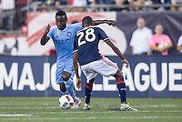 Foxborough, Massachusetts - September 10, 2016:  The New England Revolution (blue and white) beat New York FC  (lt. blue) 3-1 in a Major League Soccer (MLS) match at Gillette Stadium