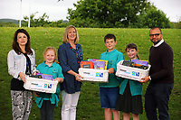 (L-R) Teacher Sarah-Lee Rees, third winner Gwen Lindsey-Jones, assistant head teacher Karen Armstrong, first winner Cai Jones, 9, second winner Caitlin Scotti 9 and Rav Raichura