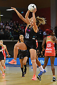 7th September 2017, Te Rauparaha Arena, Wellington, New Zealand; Taini Jamison Netball Trophy; New Zealand versus England;  Silver Ferns Gina Crampton (Front) takes a pass with Englands Geva Mentor challenging
