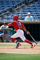 Clearwater Threshers second baseman Raul Rivas (13) follows through on a swing during a game against the Lakeland Flying Tigers on May 2, 2018 at Spectrum Field in Clearwater, Florida.  Clearwater defeated Lakeland 7-5.  (Mike Janes/Four Seam Images)