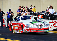 Oct. 5, 2012; Mohnton, PA, USA: NHRA pro stock driver Mike Edwards during qualifying for the Auto Plus Nationals at Maple Grove Raceway. Mandatory Credit: Mark J. Rebilas-