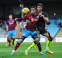 Scunthorpe United's Lee Novak shields the ball from Bristol Rovers' Tom Broadbent<br /> <br /> Photographer Chris Vaughan/CameraSport<br /> <br /> The EFL Sky Bet League One - Scunthorpe United v Bristol Rovers - Saturday 11th November 2017 - Glanford Park - Scunthorpe<br /> <br /> World Copyright &copy; 2017 CameraSport. All rights reserved. 43 Linden Ave. Countesthorpe. Leicester. England. LE8 5PG - Tel: +44 (0) 116 277 4147 - admin@camerasport.com - www.camerasport.com