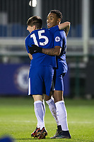 Goal scorer Juan Familio-Castillo (left) of Chelsea celebrates his second goal with Charlie Gilmour during the UEFA Youth League group match between Chelsea and Atletico Madrid Juvenil A at the Chelsea Training Ground, Cobham, England on 5 December 2017. Photo by Andy Rowland.