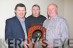 HALL OF FAME: Maurice Harty (causeway) who weas presenjtecwith the hall of fam,e at Causeway Hurling Awards niight in Harty's Bar & Restaurant on Saturday night. l-r: DJ LEahy (chairman) Monty Leahy and Maurice Harty(hall of fame)...