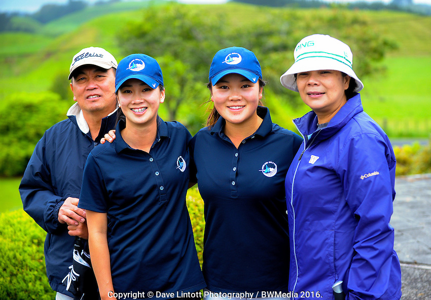 Michael (left) and Elaine Keh (right) with daughters Munchin (2nd left) and Siyi. 2016 Toro Women's Interprovincial Golf Championship at Westown Golf Club in New Plymouth, New Zealand on Saturday, 10 December 2016. Photo: Dave Lintott / lintottphoto.co.nz