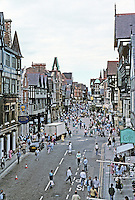 Chester: Looking along Eastgate towards center from wall.
