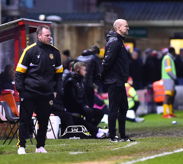 Newport County manager Michael Flynn shouts instructions to his team from the technical area<br /> <br /> Photographer Andrew Vaughan/CameraSport<br /> <br /> The EFL Sky Bet League Two - Lincoln City v Newport County - Saturday 22nd December 201 - Sincil Bank - Lincoln<br /> <br /> World Copyright © 2018 CameraSport. All rights reserved. 43 Linden Ave. Countesthorpe. Leicester. England. LE8 5PG - Tel: +44 (0) 116 277 4147 - admin@camerasport.com - www.camerasport.com