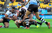 New Zealand's Danny Levi is tackled during the 2017 Rugby League World Cup quarterfinal match between New Zealand Kiwis and Fiji at Westpac Stadium in Wellington, New Zealand on Saturday, 18 November 2017. Photo: Mike Moran / lintottphoto.co.nz