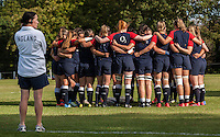 Team huddle with Jo Yapp watching on pre-match;U20 England Women v U20 Canada Women at Trent College, Derby Road, Long Eaton, England, on 26th August 2016