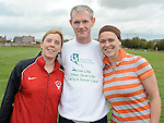 Peter Fay pictured with Ruth McCabe Tullyallen and Bernice Ward Beamore road during his Memorial Miles walk in aid of Cystic Fibrosis. Photo: www.pressphotos.ie