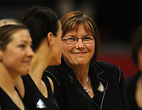 NZ coach Ruth Aitken grins at new Silver Fern Larissa Willcox before the match during the International  Netball Series match between the NZ Silver Ferns and World 7 at TSB Bank Arena, Wellington, New Zealand on Monday, 24 August 2009. Photo: Dave Lintott / lintottphoto.co.nz