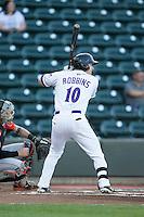 Mason Robbins (10) of the Winston-Salem Dash at bat against the Frederick Keys at BB&T Ballpark on May 24, 2016 in Winston-Salem, North Carolina.  The Keys defeated the Dash 7-1.  (Brian Westerholt/Four Seam Images)