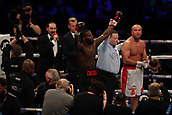 2nd February 2019 The O2 Arena, London, England; Boxing, European Super-Welterweight Championship, Sergio Garcia versus Ted Cheeseman; Undercard fight as Lawrence Okolie celebrates as he is announced the winner against Tamas Lodi by TKO