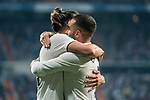 Gareth Bale of Real Madrid celebrates scoring the first goal for his team with teammate Daniel Carvajal Ramos during the La Liga 2018-19 match between Real Madrid and CD Leganes at Estadio Santiago Bernabeu on September 01 2018 in Madrid, Spain. Photo by Diego Souto / Power Sport Images