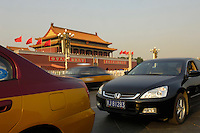 Cars in a traffic jam on Tiananmen Square, with  Tiananmen Gate behind. .21 Sep 2006