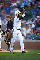 Austin James (23) of Bloomingdale High School in Valrico, Florida after scoring a run during the Under Armour All-American Game on August 15, 2015 at Wrigley Field in Chicago, Illinois. (Mike Janes/Four Seam Images)
