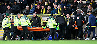 Blackpool's manager Terry McPhillips checks on Blackpool's Mark Howard as the goalkeeper is carried off the pitch on a stretcher after suffering an injury<br /> <br /> Photographer Chris Vaughan/CameraSport<br /> <br /> The EFL Sky Bet League One - Burton Albion v Blackpool - Saturday 16th March 2019 - Pirelli Stadium - Burton upon Trent<br /> <br /> World Copyright &copy; 2019 CameraSport. All rights reserved. 43 Linden Ave. Countesthorpe. Leicester. England. LE8 5PG - Tel: +44 (0) 116 277 4147 - admin@camerasport.com - www.camerasport.com