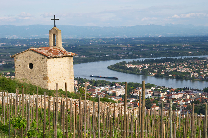 The la chapelle chapel vineyard view over town tain l hermitage rhone france