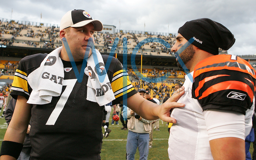 PITTSBURGH, PA - DECEMBER 04:  Ben Roethlisberger #7 of the Pittsburgh Steelers talks with Bruce Gradkowski #7 of the Cincinnati Bengals following the game on December 4, 2011 at Heinz Field in Pittsburgh, Pennsylvania.  (Photo by Jared Wickerham/Getty Images)