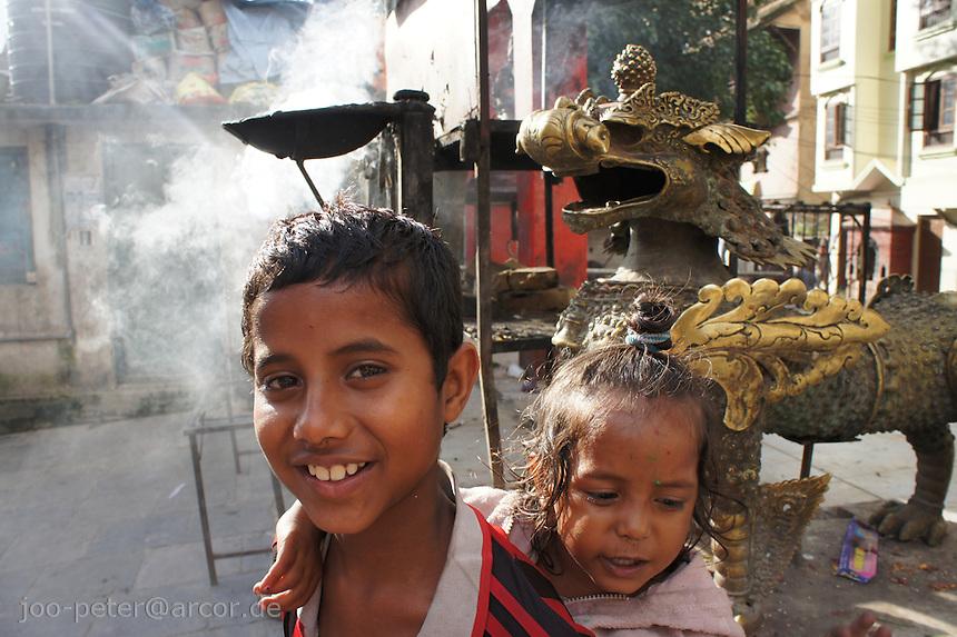 children at Durbar Square, Kathmandu, Nepal, October 2011