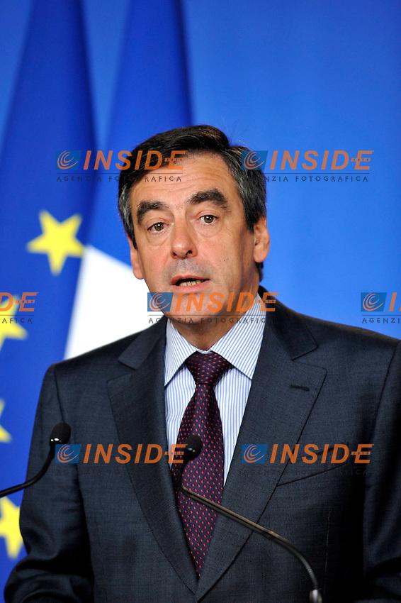 FRANCOIS FILLON Primo Ministro Francese.02/11/2011 Parigi.Incontro tra il Primo Ministro Francese e i banchieri francesi a l'Hotel de Matignon.Foto Gerard Roussel / Panoramic / Insidefoto.........
