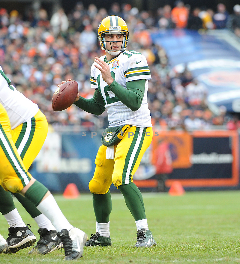 Green Bay Packers Aaron Rodgers (12) in action during a game against the Bears on December 16, 2012 at Soldier Field in Chicago, IL. The packers beat the Bears 21-13..