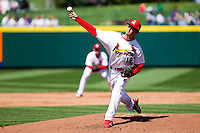 Deryk Hooker (19) of the Springfield Cardinals delivers a pitch during a game against the Frisco RoughRiders on April 16, 2011 at Hammons Field in Springfield, Missouri.  Photo By David Welker/Four Seam Images