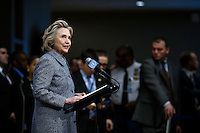 Former US Secretary of State Hillary Clinton speaks to the media about her personal email account at United Nations Headquarters in New York. 10.03.2015. Eduardo Munoz Alvarez/VIEWpress.