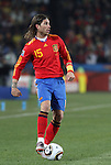 21 JUN 2010: SERGIO Ramos (ESP). The Spain National Team defeated the Honduras National Team 2-0 at Ellis Park Stadium in Johannesburg, South Africa in a 2010 FIFA World Cup Group H match.