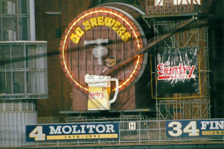 MILWAUKEE - SEPTEMBER 1999: Bernie Brewer slides into a mug of beer following a Milwaukee Brewers home run in September 1999 at County Stadium in Milwaukee, Wisconsin. (Photo by Brad Krause)