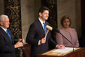 Speaker of The House of Representatives Paul Ryan (Republican of Wisconsin) gavels the start of a joint meeting of Congress for an address by U.S. President Donald J. Trump on Capitol Hill in Washington, DC, February 28, 2017. <br /> Credit: Chris Kleponis / CNP