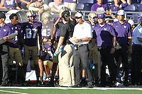 Sept 20, 2014:  Washington's Chris Petersen  against Georgia State.  Washington defeated Georgia State 45-14 at Husky Stadium in Seattle, WA.