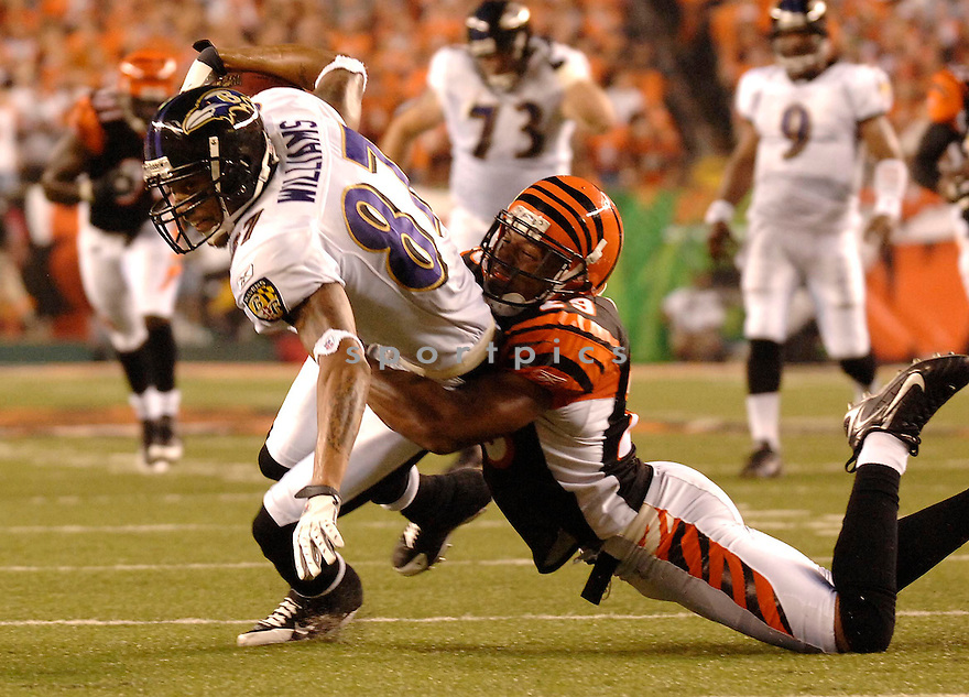 DEMETRIUS WILLIAMS, of the Baltimore Ravens, during the Raven game against the Cincinnati Bengals in Cincinnati, Ohio on Septmeber 9, 2007.  The Bengal won the game 27-20.... SportPics.......