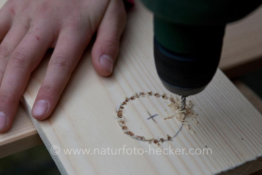 Mädchen baut einen Vogel-Nistkasten aus Brettern, 3. Schritt: Einflugloch in der Vorderseite einfügen