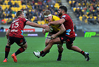 James Blackwell is tackled during the Super Rugby Aotearoa match between the Hurricanes and Crusaders at Sky Stadium in Wellington, New Zealand on Saturday, 21 June 2020. Photo: Dave Lintott / lintottphoto.co.nz
