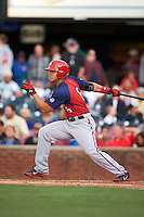Hagerstown Suns designated hitter Jose Marmolejos-Diaz (6) at bat during a game against the Lexington Legends on May 22, 2015 at Whitaker Bank Ballpark in Lexington, Kentucky.  Lexington defeated Hagerstown 5-1.  (Mike Janes/Four Seam Images)