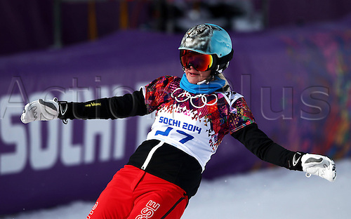 19.02.2014. Sochi, Russia.  Rosa Khutor   Sochi Winter Olympic Wiomens Giant Parallel Slalom Snowboarding.  Julie Zogg (SUI)