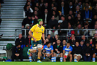 Leroy Houston of Australia runs out onto the field to make his debut for the Wallabies. The Rugby Championship match between Argentina and Australia on October 8, 2016 at Twickenham Stadium in London, England. Photo by: Patrick Khachfe / Onside Images