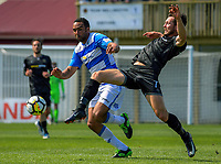 Paul Ifill and Eric Molloy (right) compete for the ball during the ISPS Handa Premiership football match between Team Wellington and Tasman United at David Farrington Park in Wellington, New Zealand on Sunday, 12 November 2017. Photo: Dave Lintott / lintottphoto.co.nz