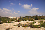 Israel, Jerusalem Mountains, the flat rock on Mount Tzuba