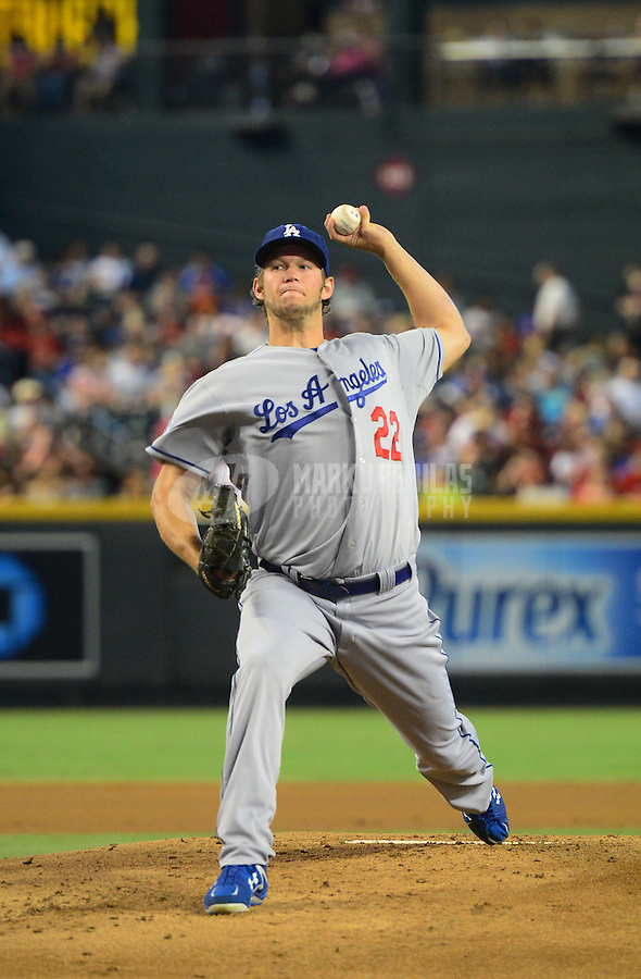 Jul. 6, 2012; Phoenix, AZ, USA: Los Angeles Dodgers pitcher Clayton Kershaw throws in the first inning against the Arizona Diamondbacks at Chase Field. Mandatory Credit: Mark J. Rebilas-