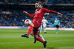 Real Madrid Dani Carvajal and CD Numancia Marc Mateu during King's Cup match between Real Madrid and CD Numancia at Santiago Bernabeu Stadium in Madrid, Spain. January 10, 2018. (ALTERPHOTOS/Borja B.Hojas)
