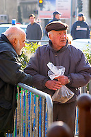 Men selling at the truffles market in Carpentras, Vaucluse, Rhone, Provence, France