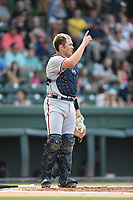 Catcher Shea Langeliers (4) of the Rome Braves, an Atlanta Braves' First-Round pick in the 2019 MLB Draft, plays defense in a game against the Greenville Drive on Sunday, June 30, 2019, at Fluor Field at the West End in Greenville, South Carolina. Rome won, 6-3. (Tom Priddy/Four Seam Images)